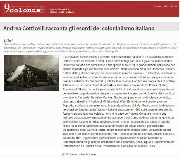 9colonne – 27 Marzo 2021: Andrea Cotticelli racconta gli esordi del colonialismo italiano